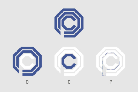 <p><strong>Figure 1.1</strong> Breakdown of OCP logo into independent letterforms.</p>