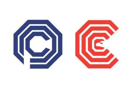<p><strong>Figure 1.5</strong> OCP's corporate logo next to the similarly styled logo for the original Washington Convention Center, which opened in opened in 1983.</p>
