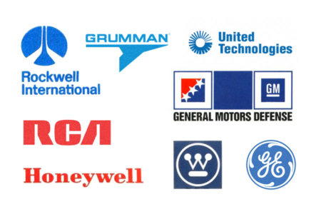 <p><strong>Figure 2.2</strong> Examples of 1980s era corporations operating as defense contractors, many of which are household names in American society. Use of the color blue seems to be the most popular, followed by red.</p>