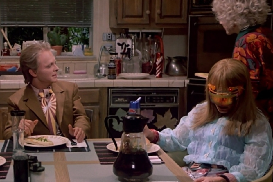 <p><strong>Figure 2.7</strong> At the 2015 McFly household, we see Marty's daughter Marlene with a Pepsi Perfect. In the background, a Slice bottle is seen on the counter.</p>