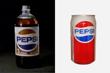 <p><strong>Figure 3.1</strong> Two versions of the Pepsi logo that could be found in 1985. Image Sources: 1985 Pepsi TV Commercial (Left) and <em>CanPedia</em> (Right)</p>