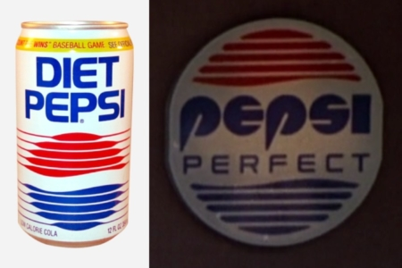 <p><strong>Figure 3.4</strong> Left: A 1987 Diet Pepsi can, featuring a Pepsi globe implied by the thickening of horizontal lines. Right: One version of the 2015 Pepsi Perfect logo, that uses a Pepsi globe consisting of the same number of horizontal lines — 5 above and below. Image Source for Can: <em>CanPedia</em></p>