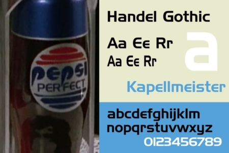 <p><strong>Figure 3.5</strong> Left: The Pepsi Perfect product logo as it appears on bottles. The Pepsi globe has fewer lines slicing through it, and PERFECT is typeset in Handel Gothic, a typeface similar in style to the lettering used in the 1987 Pepsi logo. Specimen Source: <em>Wikipedia</em></p>