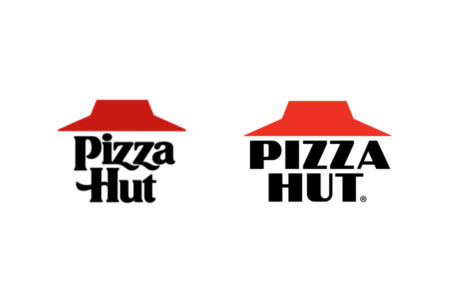 <p><strong>Figure 2.1</strong> The real-world 1989 version of the Pizza Hut logo (left), next to the film's fictional depiction of the logo from 2015 (right).</p>