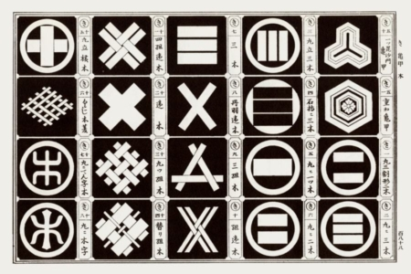 <p><strong>Figure 3.3</strong> The symbol of the Red Sun Empire is based on designs for traditional Japanese crests. Source: <em>Japanse Design Motifs</em></p>