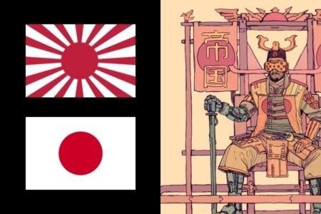 <p><strong>Figure 3.2</strong> The Red Sun Empire is inspired by the Empire of Japan, and we see it use graphics inspired by the Rising Sun Flag (top-left) and the current Japanese flag (bottom-left). Source: Wikipedia</p>