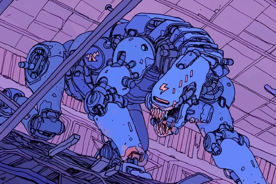 <p><strong>Figure 3.4</strong> The Ministry of Information seal and the lightning bolt are seen on the vicious robotic dogs that are used to hunt political dissidents.</p>