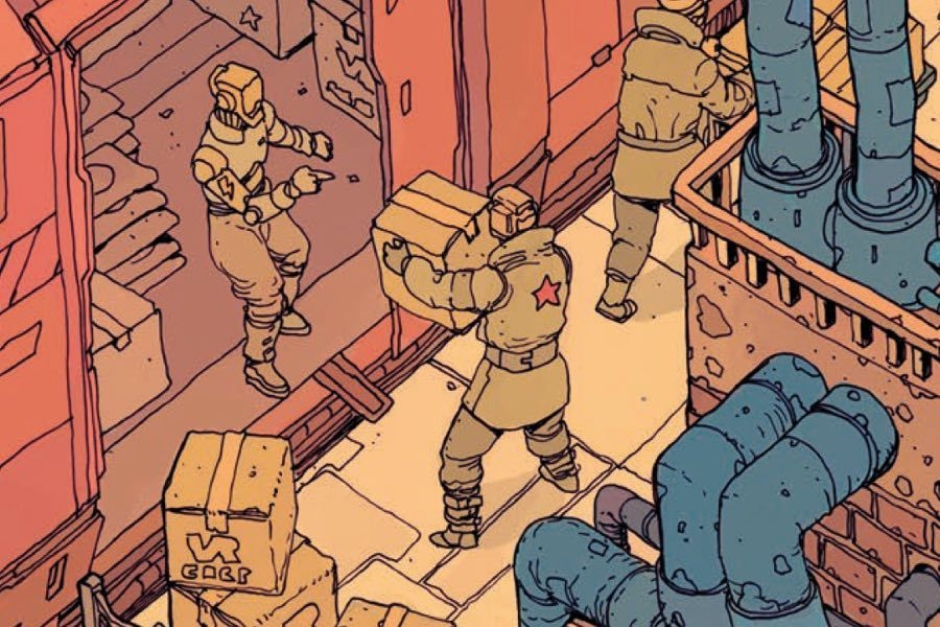 <p><strong>Figure 3.6</strong> Robots delivering products to the EFF bear the lightning bolt, indicating their citizenship in the Robotic Union.</p>