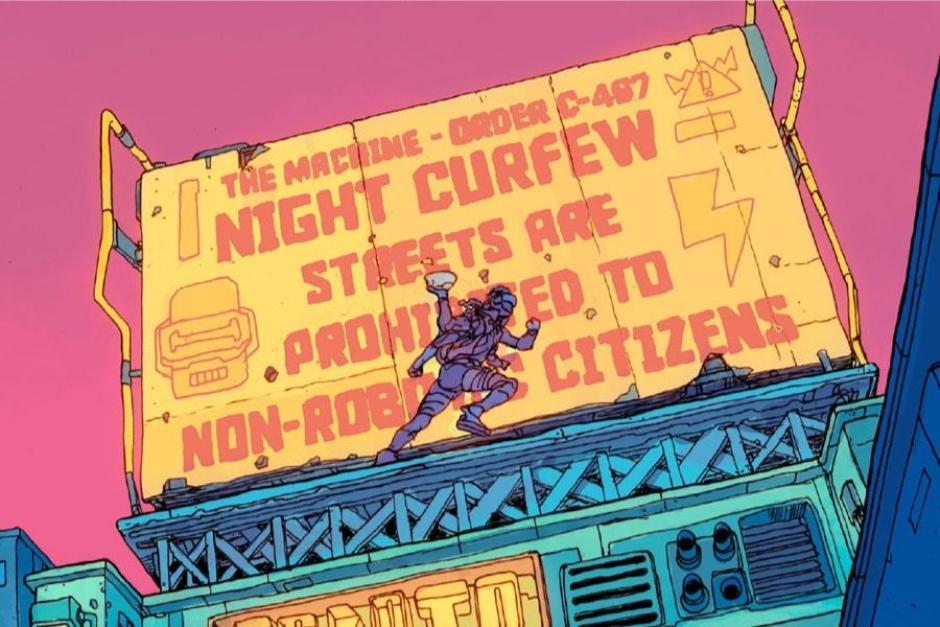 <p><strong>Figure 3.3</strong> The urban landscape of Robo-City 16 is filled with neon and billboards, much of it featuring propaganda of the Ministry of Information.</p>