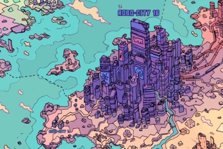 <p><strong>Figure 1.1</strong> Robo-City 16 is the largest city in the world, covering most of what would be known as Europe.</p>
