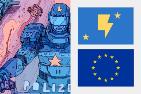 <p><strong>Figure 2.2</strong> Stars make many appearances on the uniforms of authorities (left), and also on the Robotic Union flag (top right), which echo the symbol of the European Union (bottom right).</p>