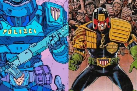 <p><strong>Figure 2.3</strong> Police from Robo-City 16 are adorned in shields, similar to those we see on Judge Dredd, who polices Mega-City One in the <em>2000 AD</em> comic.</p>