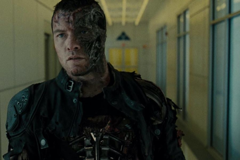 <p><strong>Figure 4.4</strong> As Marcus Wright approaches the heart of Skynet, we see the mark on the wall above the door behind him. Source: <em>Terminator: Salvation</em></p>