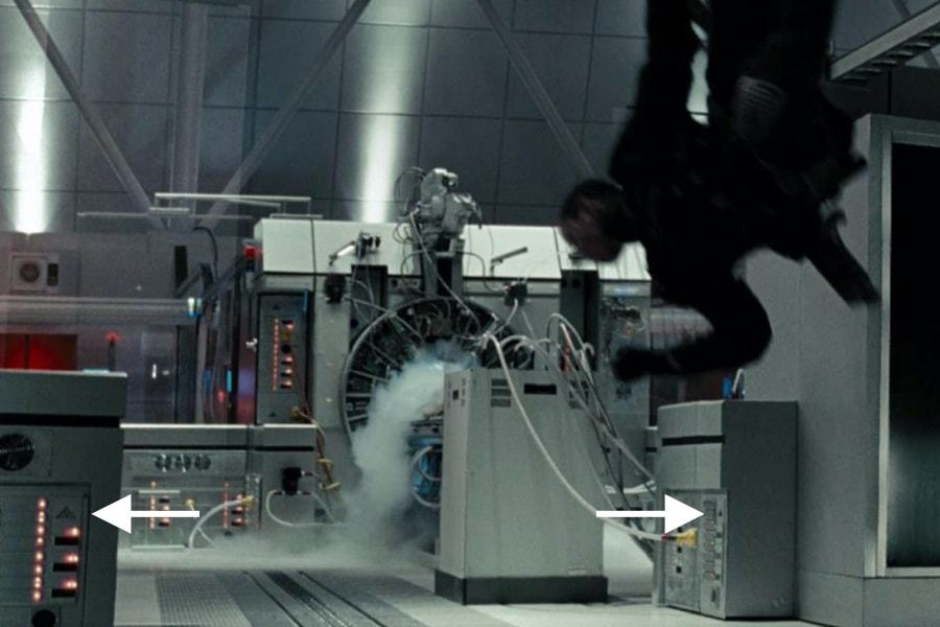<p><strong>Figure 4.9</strong> When John Connor is thrown around by the T-800, we see some tiny triangles on the hardware in the room. Source: <em>Terminator: Salvation</em></p>