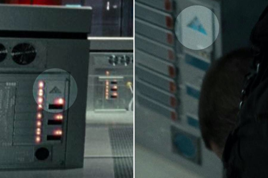 <p><strong>Figure 4.10</strong> A closer look at those triangles, reveals the Skynet mark cast in the metal surfaces of the computer equipment. Source: <em>Terminator: Salvation</em></p>