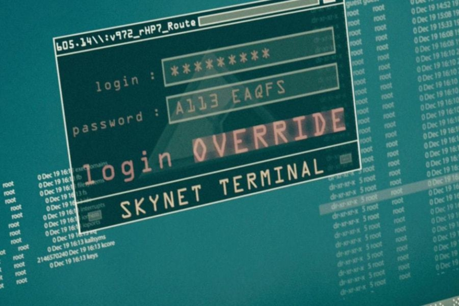 <p><strong>Figure 5.1</strong> When the team that John Connor is with infiltrates the underground Skynet site, they access a terminal. Behind the login, we see a 3-D render of the Skynet logo — the only instance in the film. Source: <em>Terminator: Salvation</em></p>