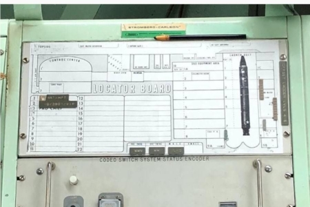 <p><strong>Figure 6.1</strong> Note the Stromberg-Carlson wordmark and General Dynamics logo top-center, on this control console from a Titan ICBM launch complex.</p>