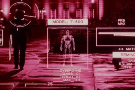 <p><strong>Figure 6.2</strong> The Terminator's machine vision, recognizing a fellow creation of Skynet as a Cyberdyne Model T-800. Source: <em>Terminator: Genisys</em></p>