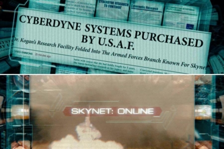 <p><strong>Figure 6.3</strong> When Marcus Wright accesses the Skynet mainframe, he finds archived news reports of Cyberdyne's purchase by the USAF, and subsequent activation. Source: <em>Terminator: Salvation</em></p>