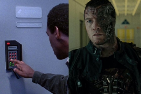 <p><strong>Figure 6.6</strong> The Cyberdyne Systems logo on a door in <em>T2</em> blends into the environment (left), while the Skynet logo above a door in <em>Salvation</em> seems placed for effect within the shot (right). </p>