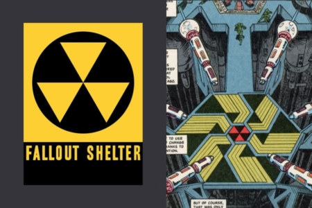 <p><strong>Figure 7.1</strong> The fallout shelter symbol (left), even found its way into the first Dark Horse <em>Terminator</em> comics, where it was used in the time displacement chamber. This is was published in 1990, the year <em>T2</em> went into production.</p>