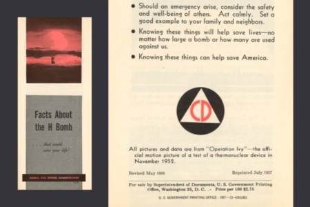 <p><strong>Figure 7.2</strong> The Civil Defense symbol, seen here on literature aimed at preparing citizens for nuclear war, prominently featured a triangle.</p>
