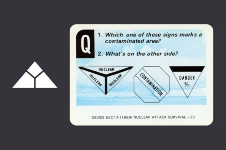 <p><strong>Figure 7.4</strong> The answer to the question on this US Navy study card, is the sign on the far left, which bears some resemblance to the Skynet mark.</p>