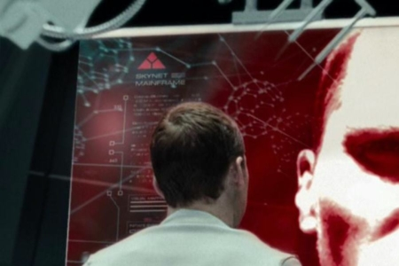 <p><strong>Figure 2.3</strong> On a screen representing the Skynet mainframe, we find the mark in the upper left corner. Source: <em>Terminator: Salvation</em></p>