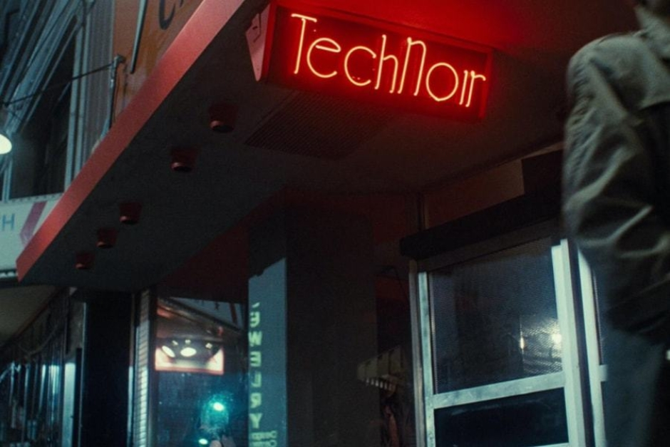 <p><strong>Figure 1.1</strong> As Kyle Reese walks by the club Sarah Connor ducked into to call the police, we see its name — Tech Noir — in red neon above the door.</p>