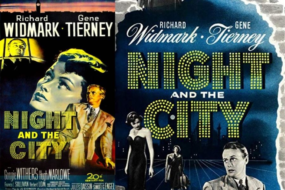 <p><strong>Figure 2.7</strong> A good example of type styled in the fashion of a marquee bulb sign, can be found on these posters for the 1950 noir film <em>Night and the City</em>. The Tech Noir signage is definitely a nod to the genre. Source: IMDb</p>