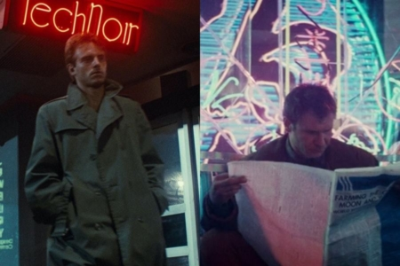 <p><strong>Figure 2.1</strong> Director James Cameron named the nightclub Tech Noir (left), as an homage to films like <em>Blade Runner</em> (right), that blend sci-fi and noir in a number of ways.</p>
