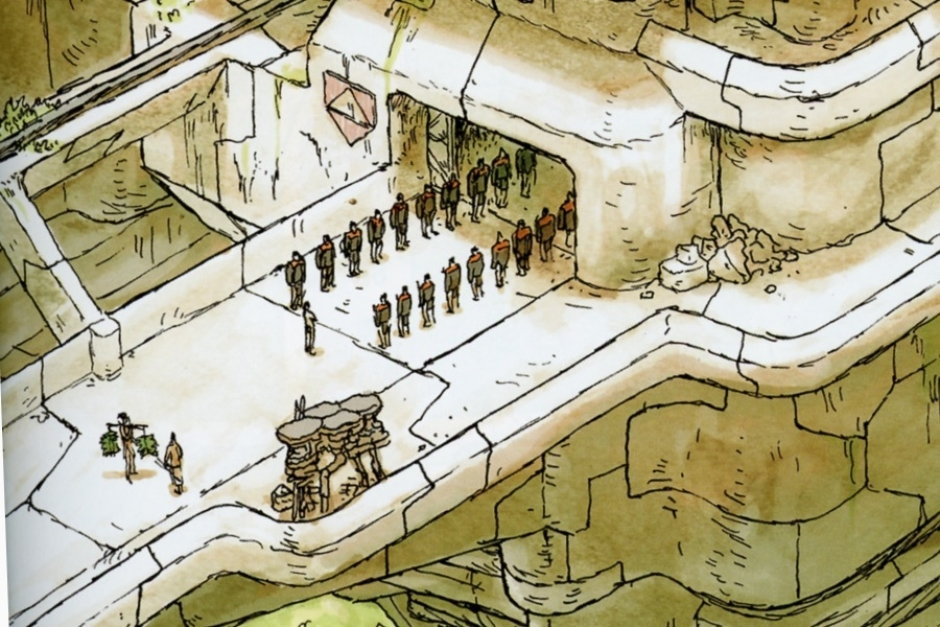 <p><strong>Figure 2.1</strong> Early in the story, as Cho enters his initiation, we see the red-orange Habsec symbol on the side of the structure (left of the door).</p>