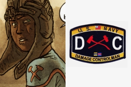 <p><strong>Figure 5.4</strong> Left: Joan, from Engineering, wears insignia for Damage Control on the shoulders of her uniform. Right: The symbol as it is worn by a Damage Controlman in the US Navy. Source: US Navy</p>