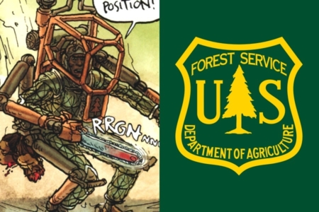 <p><strong>Figure 5.5</strong> Left: The habitat forestry symbol is visible on the chest of a powered-exoskeleton. Right: The pine tree is a common symbol used for forestry services past and present, in the US. Source: USDA</p>