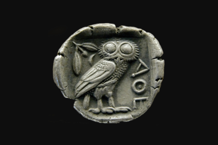<p><strong>Figure 2.3</strong> Coin at the Museum of Fine Arts of Lyon depicting the owl of Athena (circa 480–420 BC). Source: Wikimedia Commons</p>