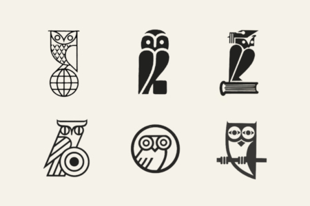 <p><strong>Figure 2.4</strong> Owl logos tend to represent entities involved in knowledge or education, like publishers or schools (top row). It is also common to see them used for scientific or technical entities involved in vision or optics (bottom row).</p>