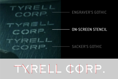 "<p><strong>Figure 3.2</strong> Engraver's gothic typefaces produce a close match for the ""TYRELL CORP."" stencil lettering on chairs, but it is unclear what exactly was used by the sign department.</p>"