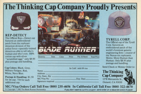<p><strong>Figure 3.4</strong> Officially licensed <em>Blade Runner</em> hats featuring the Tyrell Corp logo were available for mail order in magazines, in 1982. Source: <em>Blade Runner Souvenir Magazine</em></p>