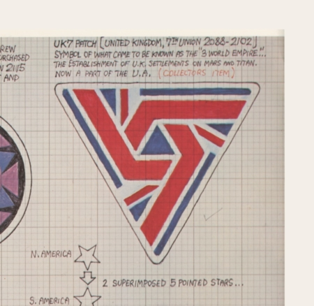 <p><strong>Figure 1.1</strong> Ron Cobb's original drawing for the UK-7 patch. Source: <em>The Authorized Portfolio of Crew Insignias from The UNITED STATES COMMERCIAL SPACESHIP NOSTROMO Designs and Realizations</em></p>