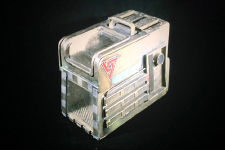 <p><strong>Figure 1.4</strong> From the collection of Bob Burns, the original cat carrier prop, which features a UK-7 decal on the side. Source: <em>Aliens in the Basement</em></p>