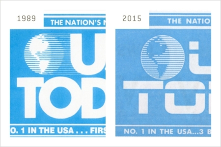 <p><strong>Figure 2.4</strong> A side-by-side comparison of the <em>USA Today</em> globes — real-world 1989 version on the left, and fictional 2015 version on the right.</p>