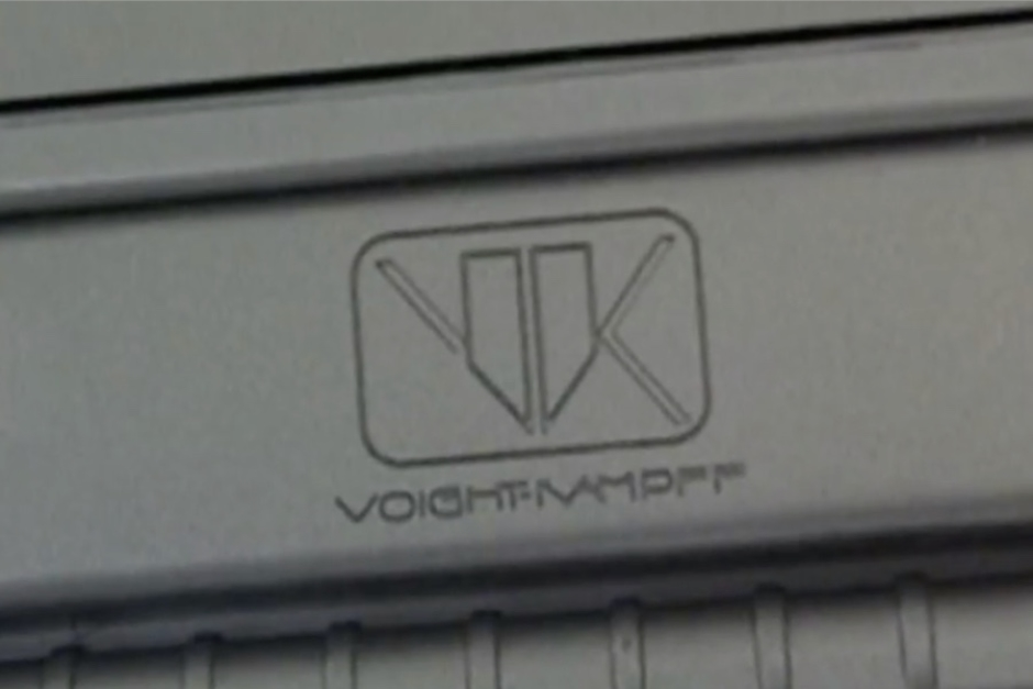 <p><strong>Figure 3.2</strong> A closer look at the Voight-Kampff logo lockup as it appeared on the Collector's Edition briefcase. Source:<em> Blade Runner - Collector's Edition Briefcase Set Review</em> by Zaranyzerak, YouTube (2009)</p>