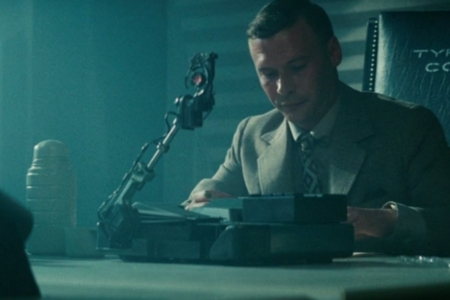 <p><strong>Figure 1.1</strong> The Voight-Kampff test machine, in the scene where Holden interrogates Leon at Tyrell Corp.</p>