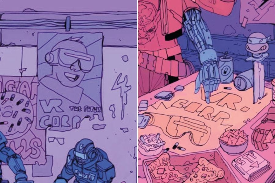 <p><strong>Figure 2.3</strong> Throughout the detailed scenes depicting life in Robo-City 16, we can find fun posters advertising VR Corp to the masses.</p>