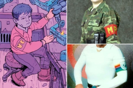<p><strong>Figure 3.2</strong> Child laborers are branded by the company, where the logo appears on armbands they wear. Armbands are usually associated with military uniforms, in both reality (top right) and sci-fi (bottom right).</p>