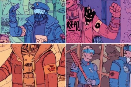 <p><strong>Figure 3.3</strong> Other armbands of political allegiance, from <em>The Future</em> is Now. Clockwise from top left: The Robotic Union, The Enemies of Reality, the Eastern Frontier Federation, and The Network.</p>